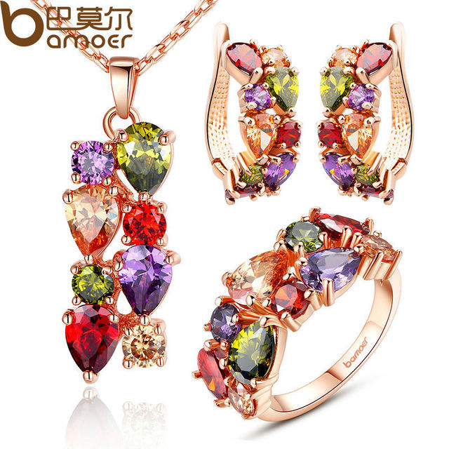 High Quality Gold Plated Jewelry Sets With Multicolor AAA Cubic Zircon Mona Lisa Jewelry For Lady Wedding SD037