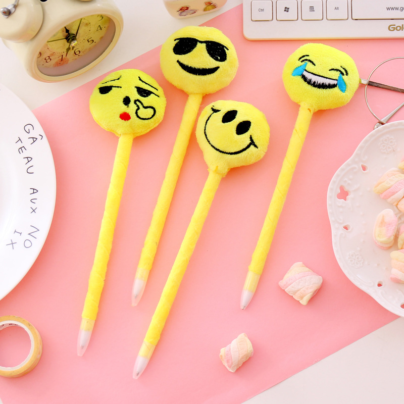 20 pcs/lot Cute Emoji Smile Ballpoint Pen Lovely Plush ball pens for writing office school supply Gifts for kids escolar
