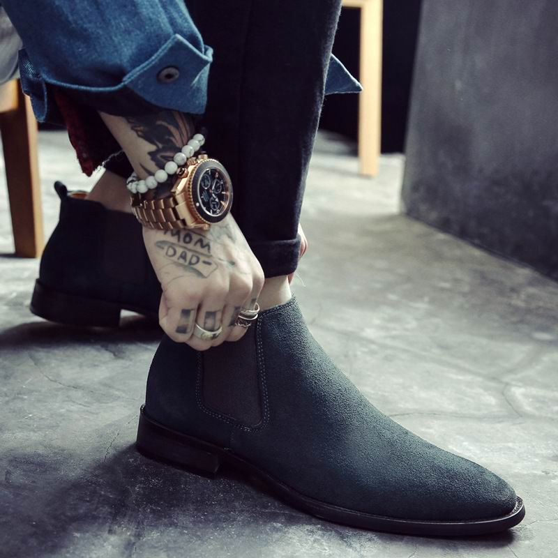 ERRFC Britischen Mode Männer Chelsea Stiefel Sewing Slip Auf Nubuk Trend Mann Stiefeletten Schwarz Luxus High Top Casual Schuhe 38 44-in Chelsea Boots aus Schuhe bei  Gruppe 3