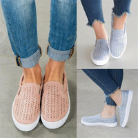 Women Cut Outs Elastic Band Vulcanized Shoes Female Flock Slip On Shallow Breathable Flat Casual Shoes