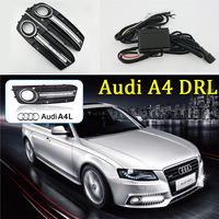 ECAHAYAKU 1set car styling For Audi A4 2009 2010 2011 2012 LED DRL Daytime driving Running Lights Daylight Fog Lamp cover hole