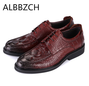 Luxury crocodile pattern genuine leather men shoes high grade business dress work shoes mens wedding shoes size 37 41 44 US 5-10