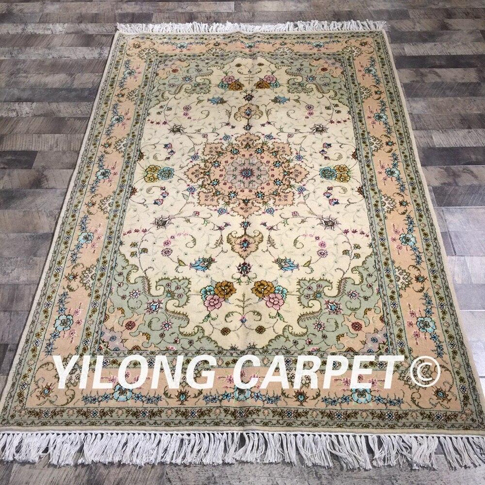 Yilong 4'x6 'fleurs exquises tapis de zone noué à la main turque beau tapis de soie en laine fait à la main (WY2118S4x6)