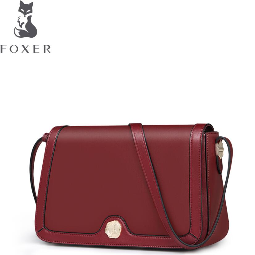 FOXER2018 high-quality fashion luxury brand new leather shoulder bag Korean simple leather Messenger bag wild small square bag new winter casual big bag korean version of the retro simple small bag wild fashion messenger shoulder messenger bag tide
