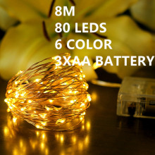80LED 8M Led 6color Christmas Lights Outdoor 100% Waterproof 3AA Battery Christmas Fairy strip Lights Copper Wire Starry String