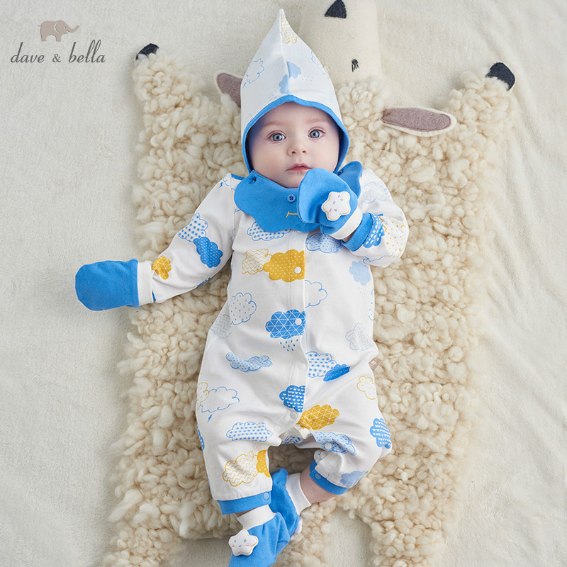 DBH10008 Dave Bella Spring Autumn Newborn Boys Girls Rompers Infant Toddler Clothing Sets Baby Cotton Jumpsuits