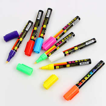 8Colors 6mm Erasable Oblique Highlighter Pen Set Liquid Chalk Marker Pens Fluorescent Pen For kids office school supplies