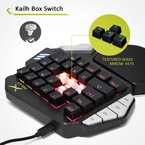 Image 3 - Delux T9X Single handed Mechanical Gaming keyboards fully programmable USB wired keypad with RGB backlight for PUBG LOL E Sports
