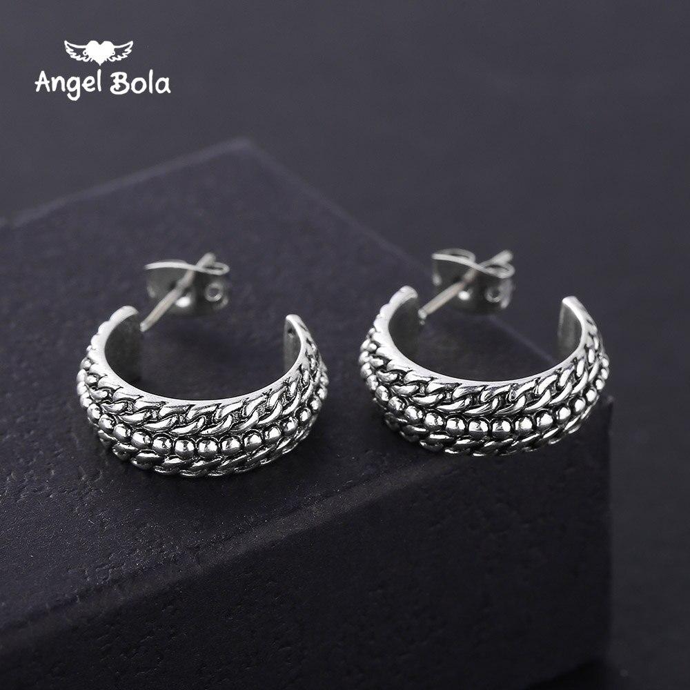 Neue Vintage Runde Alte Silber Stud Ohrringe für Frauen Buddha Ohrring Party Zubehör Geschenke Freies Verschiffen