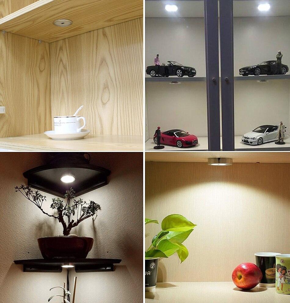 Under Cabinet Light LED 12V 3W Aluminum Cupboard Kitchen Closet Puck Wardrobe Furniture Lamp Counter Showcase Bookshelf Lighting (12)