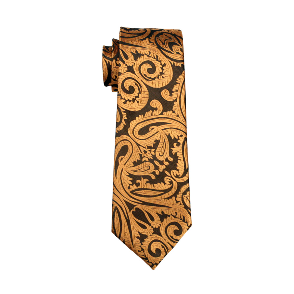 LS-988 2016 New Arrive Mens Tie Yellow Paisley 100% Silk Jacquard Woven NeckTie Hanky Cufflink Set For Men Formal Wedding Party
