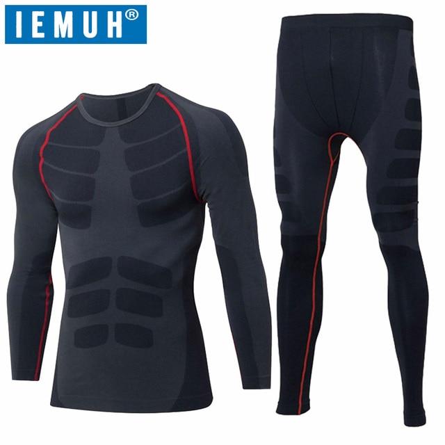 IEMUH New Outdoor Sport Men Winter Spring Thermal Underwear Fitness Warm Thicken Polar Fleece Hiking Ski Men Long Underwear Suit