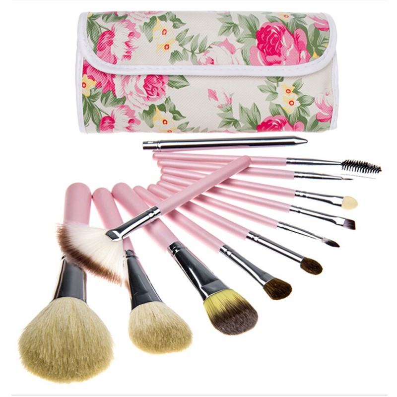 12 UNIDS/SET Herramienta de Maquillaje Profesional Herramientas de Maquillaje Cepillos Cosmético del Cepillo Kits 2 Colores maquillaje Accesorios con Cañón