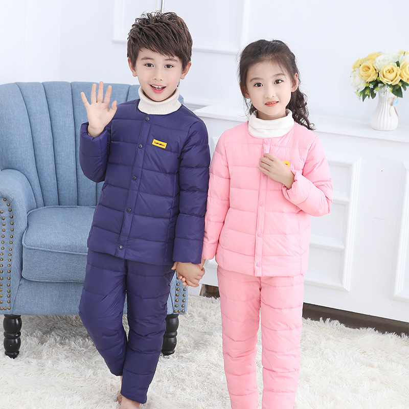 2Pcs Down Coat+Pants 24M-8T Children's Clothing Set Soild Colors Girl Clothes Long Sleeve Keep Warm Winter For Boy Clothes V20 цена и фото
