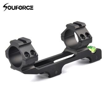 Anillo doble de montaje de alcance óptico de caza con nivel de burbuja de espíritu apto para riel Picatinny de 20 mm para Mira de Rifle táctico con tubo de 30 mm