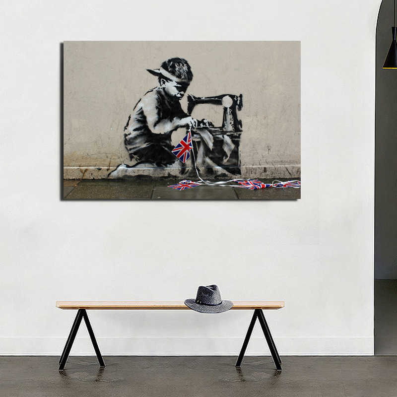 Banksy Slave Labour Wall Art Canvas Painting Posters Prints Modern Oil Painting Wall HD Picture For Living Room Home Decoration