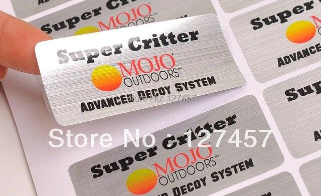 Custom printed brushed silver pet label die cut self adhesive sticker printing