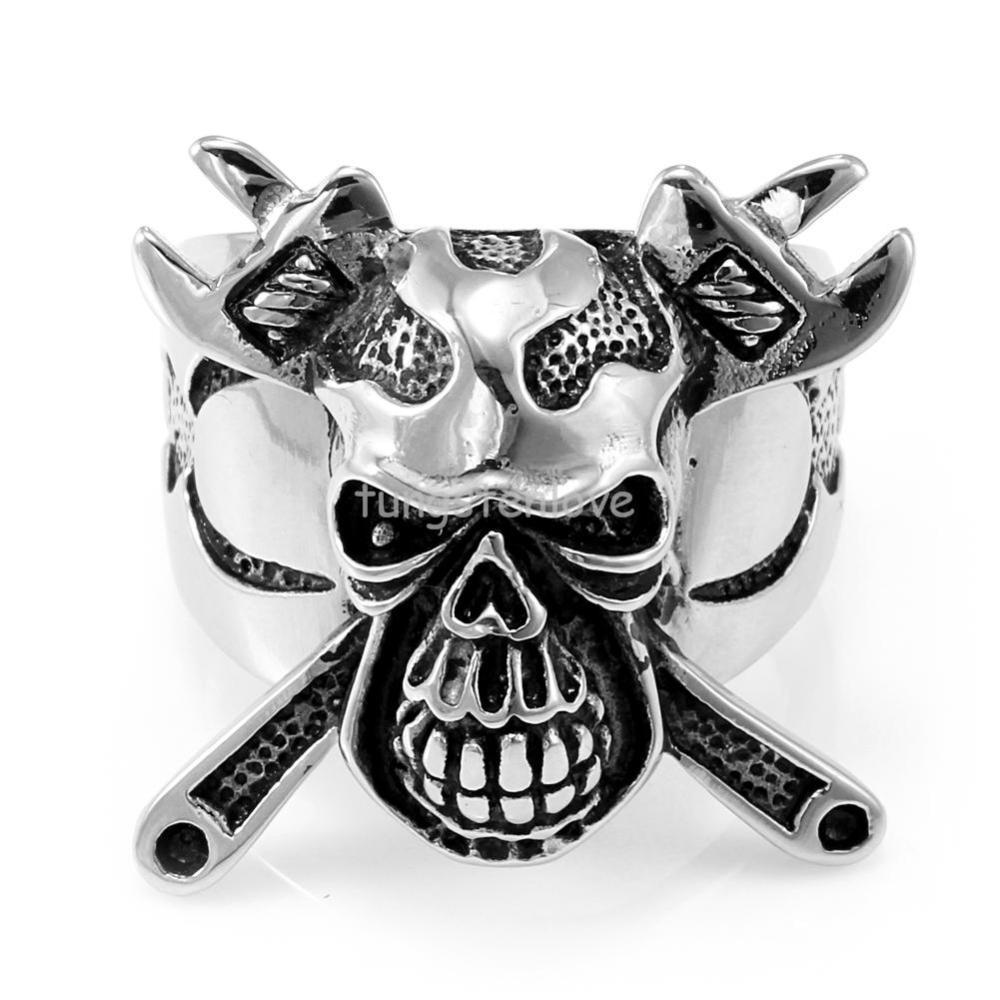 Jewelry 2017 New Stainless Steel Skull Crossbones Ring Wrench Mens