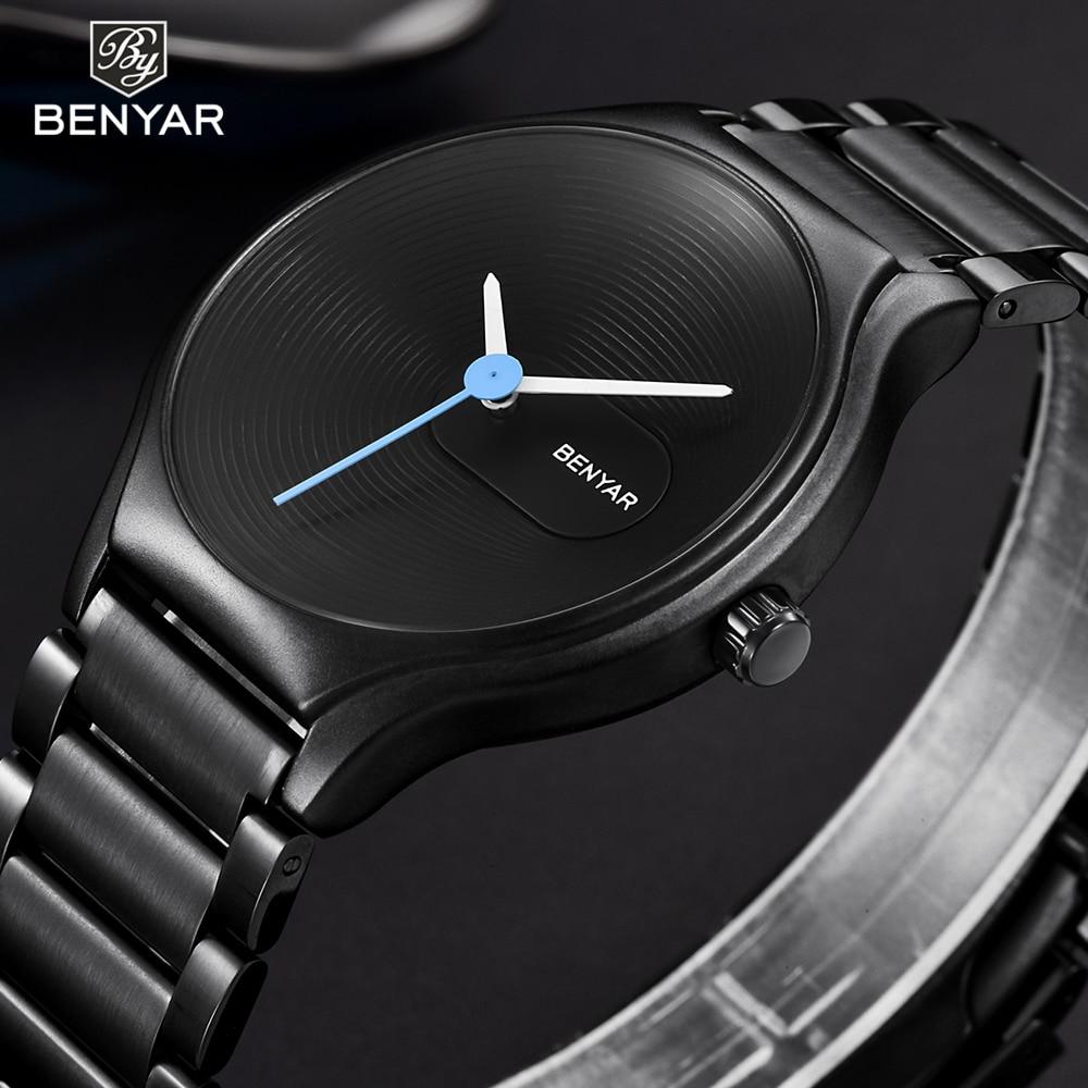 все цены на BENYAR Fashion Ultra Thin Watch Bracelet Women Watches Luxury Black Steel Male Female Clock Ladies Wrist Watch Relogio Feminino