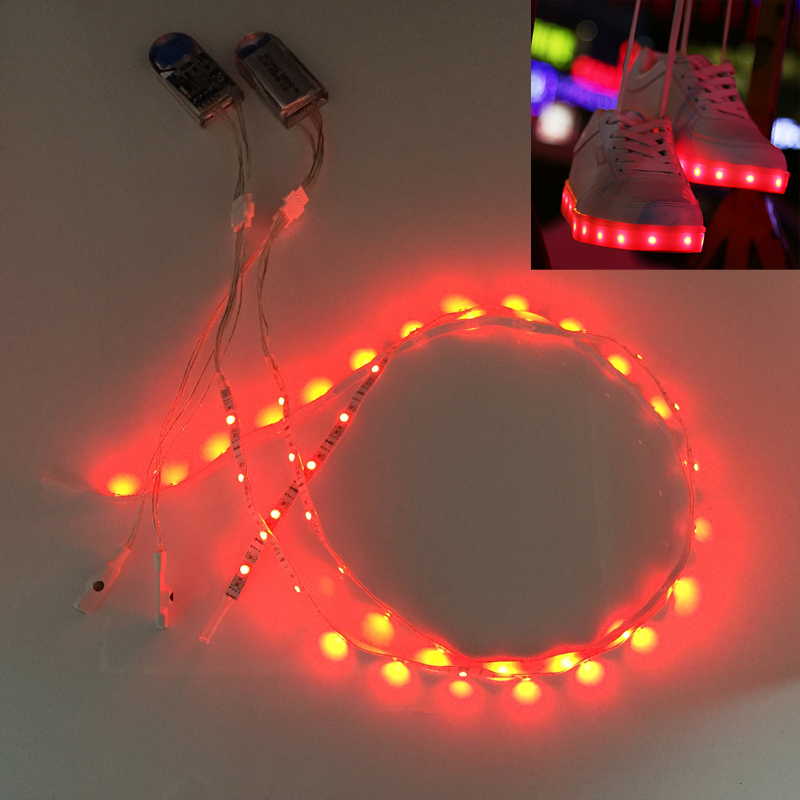 Waterproof LED Strip Light 1Pair USB Charging Rechargeable Battery Powered 3V SMD3528 RGB 60CM 24 LED Tape for DIY Shoes Gift