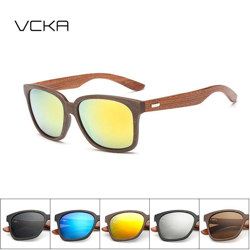 723bbc2e2540dc VCKA Tendance lunettes de Soleil Carrées Hommes Marque Designer Bois Bambou  Lunettes De Soleil Femmes Miroir Lunettes de Soleil UV400 Lunettes Shades  Oculos