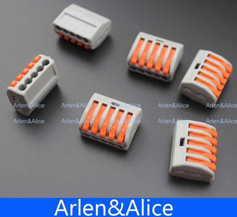 50 pièces PCT-215 5 broches universel compact fil câblage connecteur conducteur bornier avec levier