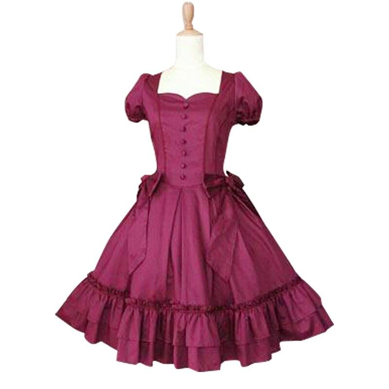 Robe Lolita gothique à volants col carré manches Feifei dentelle garniture gothique robe Lolita