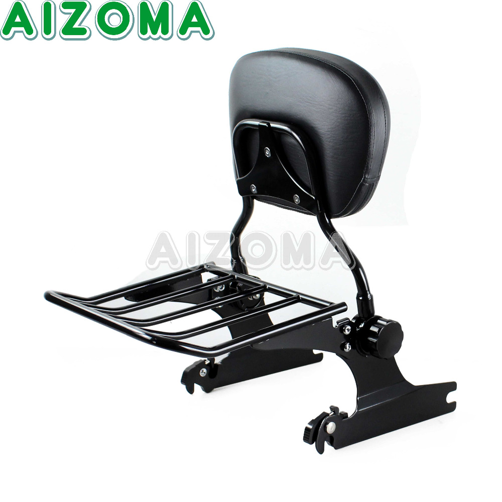 Black Detachable Sissy Bar Luggage Rack Backrest w Passenger Pad for Harley Softail Fat Boy FLSTF Springer Standard 2006 18 19 in Covers Ornamental Mouldings from Automobiles Motorcycles