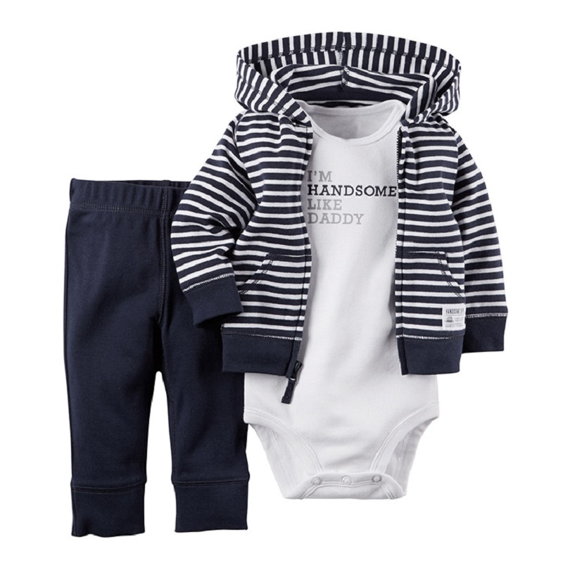 Baby Boy Clothes Set 3pcs Coat + Romper + Pant  Spring Newborn Clothing Luckly Child Kids Costumes Baby Born Striped Letter Suit 2pcs set baby clothes set boy