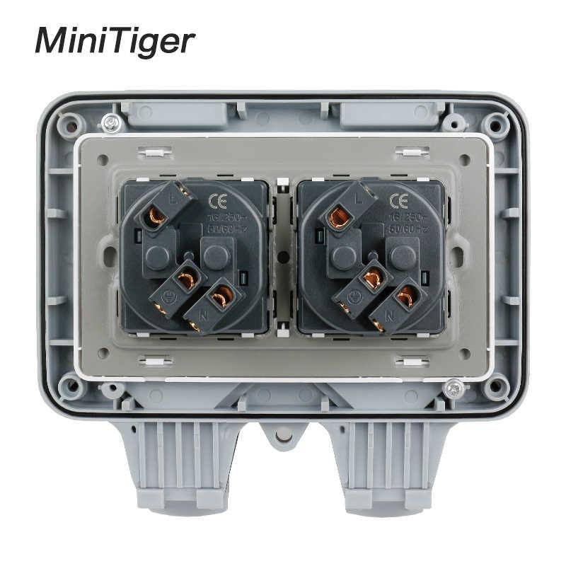 Minitiger IP66 עמיד עמיד למים חיצוני קיר כוח שקע 16A כפול האירופי תקן חשמל לשקע הארקה AC 110 ~ 250 V