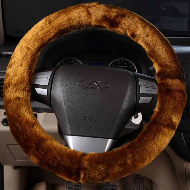 New Winter Solid Color Plush Car Steering Wheel Cover Warm hand 35/36/37/38/39/40cm Universal For VW Golf BMW Ford Renault Opel