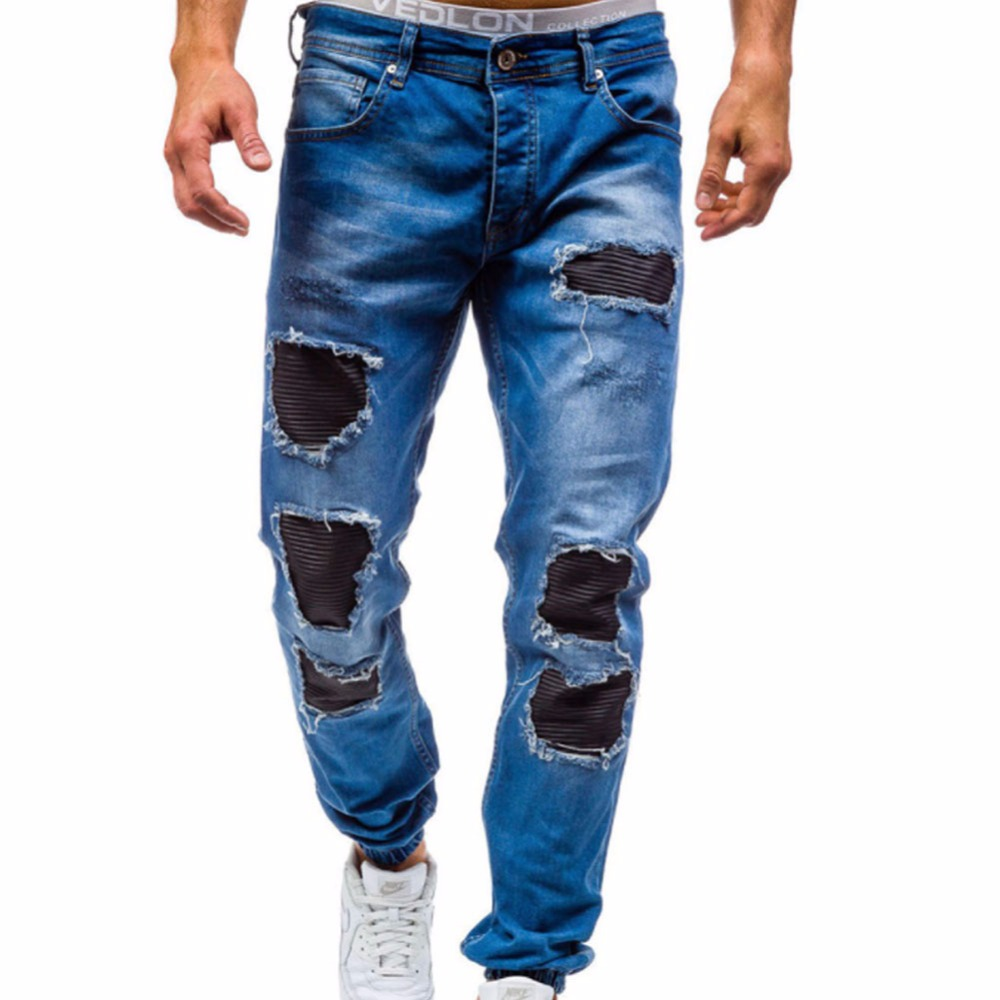 2017 New MenS Jeans Ripped Beggar Holes Pants Korean Style Elasticity Casual Trousers Cool Stretch Denim Hip Hop Pants Jogger