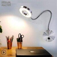 Mangueira flexível de prata preto moderno conduziu a lâmpada parede 5 w braço flexível lâmpada luz leitura cabeceira estudo pintura iluminação da parede bedside reading light wall light lamp bedside -