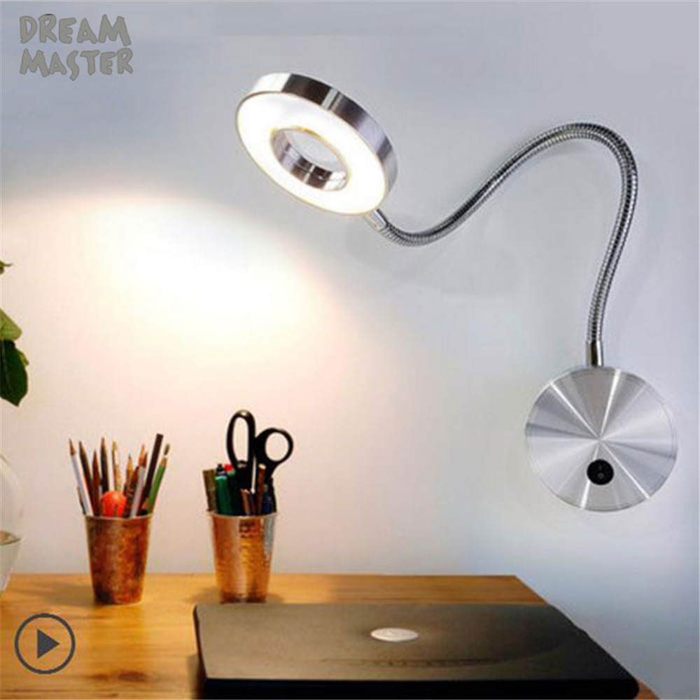 Modern Silver Black Flexible Hose LED Wall Lamp 5W Flexible Arm Light Lamp Bedside Reading Light Study Painting Wall Lighting new flexible rotating lamp night reading light 85v 220v 3w flexible hose led bedside wall bedroom lamp warm white light modern