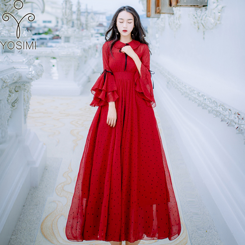 YOSIMI 2018 Spring Summer Maxi Red Chiffon Vintage Long Women Dress Ankle-Lenght Ruffles Sleeve Evening Party Female Vestidos