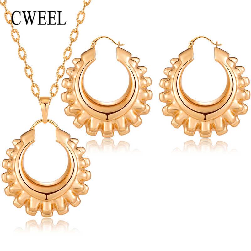 CWEEL ניגרית תכשיטי סטי נשים חרוזים אפריקאים תכשיטי חתונה גדול חישוק עגילי נחושת זהב צבע שרשרת סט חג המולד מתנה