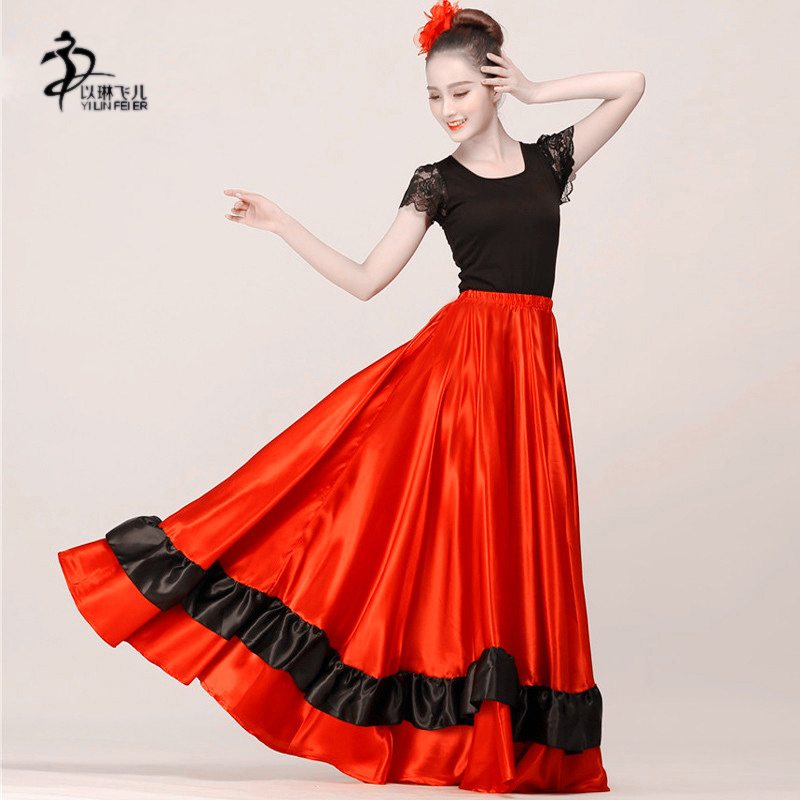 Clothing, Shoes & Accessories Skirts Intelligent Satin 6 Yard Tiered Gypsy Skirt Belly Dance Tribal Ruffle Costume Jupe Flamenco