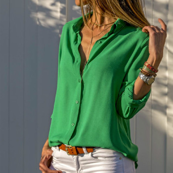 Chiffon Blouse Oversized Long Sleeve Women Blouses Tops Turn Down Collar Solid Office Shirt Casual Top Blusas Plus Size 8XL 7XL 1