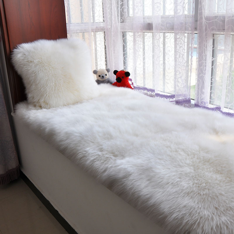 Square Shaped Real Sheepskin Bay Window Rug 80*220cm ,sheep Fur Bedside  Carpet ,white Shaggy Sheep Fur Decoration Sofa Cushion