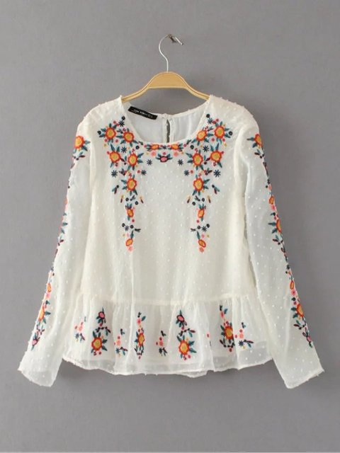 226900b4 2017 New Round Neck & Long Sleeves Floral Embroidered Plumetis Blouse Back  Opening With Button Fastening - Women's Tops & Shirts