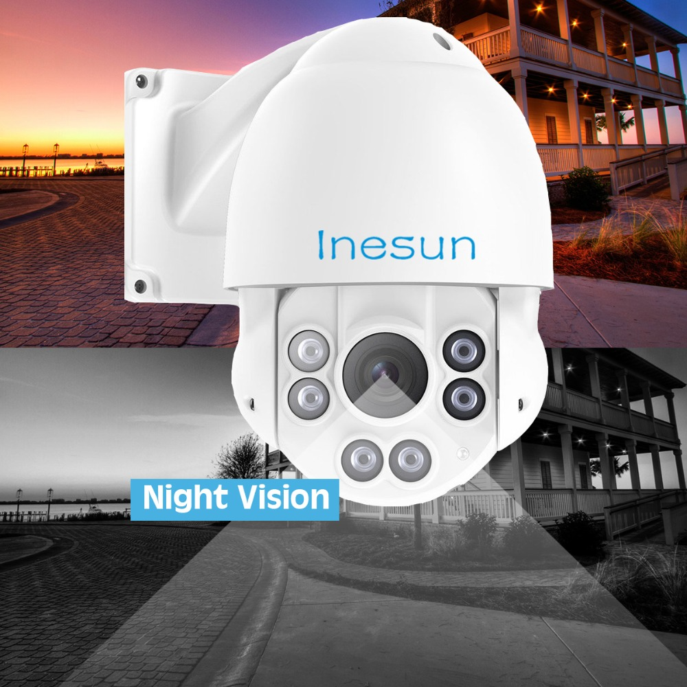Inesun 2MP 1080p PTZ High Speed Dome Security Camera 4 in 1 HD TVI AHD CVI CVBS 10X Optical Zoom Outdoor 165ft IR Night Vision in Surveillance Cameras from Security Protection