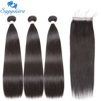 Sapphire Remy Hair Brazilian Straight Hair Bundles With Closure Human Hair Weave Bundles 4 PCS Straight