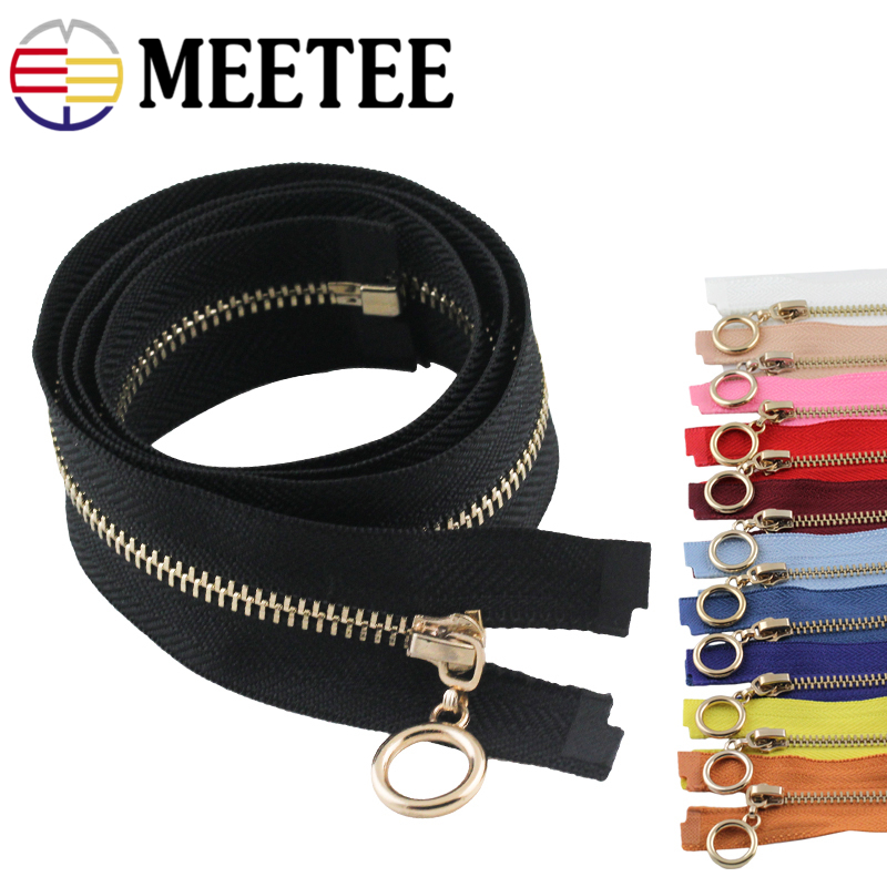 2pcs Meetee 3 70cm Open end Metal Zipper Ring Puller DIY Clothing Coat Down Jacket Bag Zip Repair Tailor Sewing Tools Accessory in Zippers from Home Garden