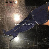 2017 Hot Selling Women Over The Knee Long Boots With Rivet Studded Pointed Toe Women Spring Autumn Thin Heels Long Boots