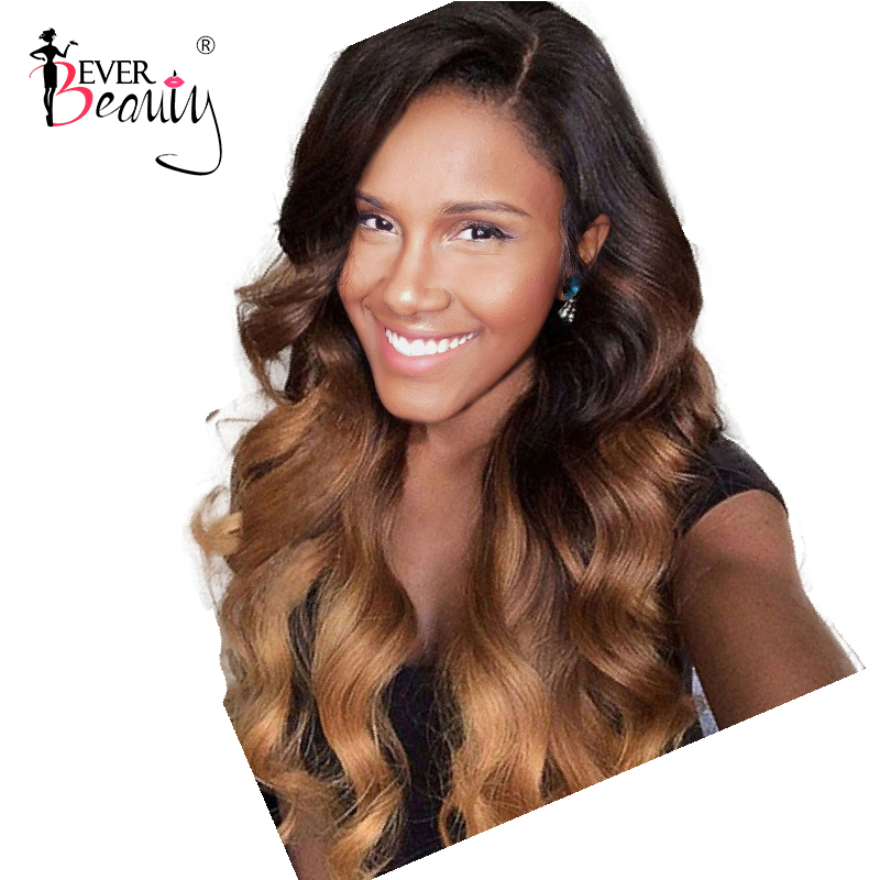 Ombre Lace Front Human Hair Wigs 4x4 150 Density Glueless Honey Blonde Brazilian Body Wave Hair
