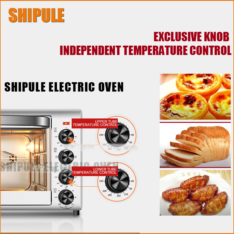SHIPULE Stainless Steel Baking Oven,Electric Oven for making bread, cake, pizza with temperature control 220V shipule multi function electric ovens for home bakingcakes52l capacity mini stainless steel baking oven with hot plates