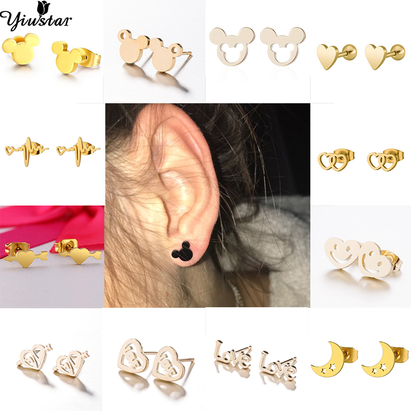 Yiustar New Arrival Romantic Earings for Girls Kids 304 Stainless Steel Stud Earrings Cute Tiny Love Jewelry Gifts