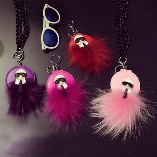2016 new year gift monster Dolls fur ball Pom pom Fold small mirror necklace Woman bag charm Pendant Karlito Capsule Collection