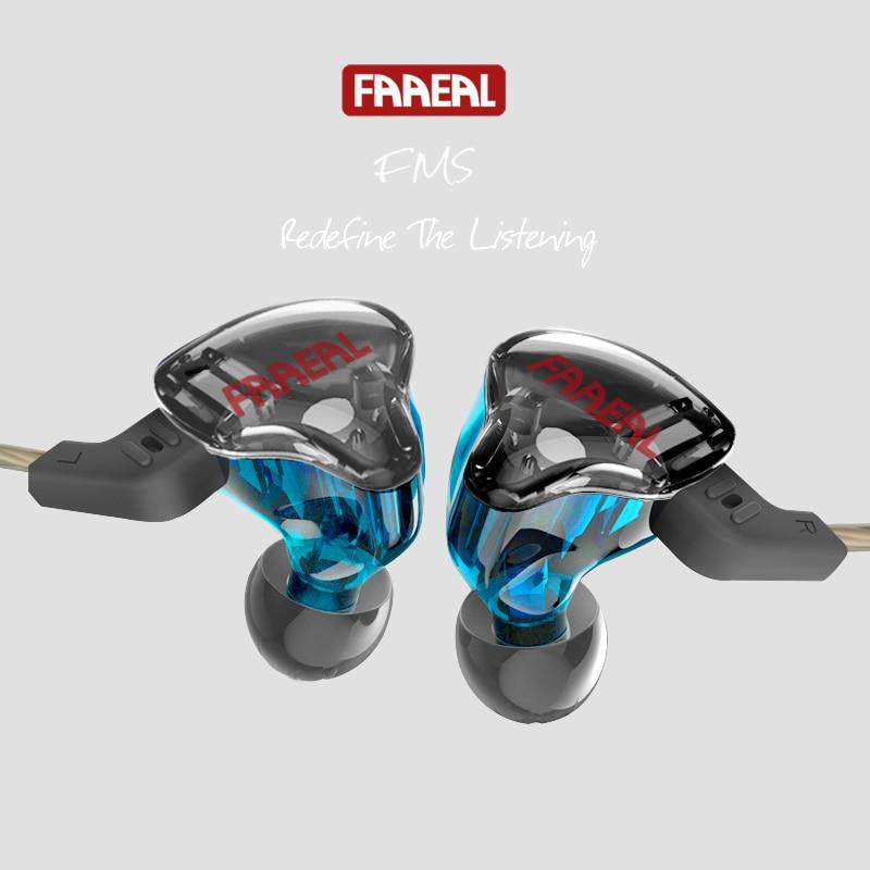 Newest FAAEAL FMS BA+DD Hybrid Earphone Detachable Cable In Ear Audio Monitors Noise Isolating HiFi Music Sports Earphone