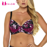 Plus Size Bra Red Printing With Lace Bralette Women Underwear Sexy Lace 32 42 D DD